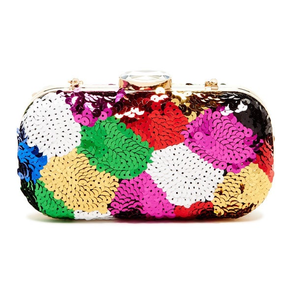 Pink Haley Sequin Rainbow Box Clutch