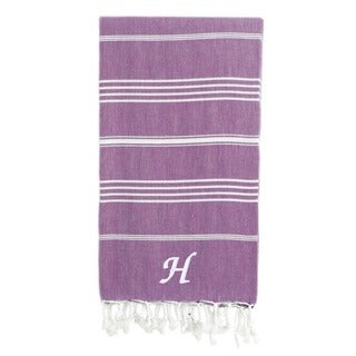 Authentic Pestemal Fouta Original Purple and White Striped Turkish Cotton Bath/Beach Towel with Monogram Initial