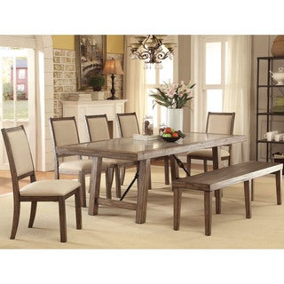 Furniture of America Bailey Rustic 6-Piece Weathered Elm Dining Set