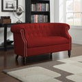Portfolio Chesterfield Red Velvet Loveseat