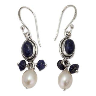 Sterling Silver 'Sita's Splendor' Lapis Pearl Earrings (7 mm) (India)