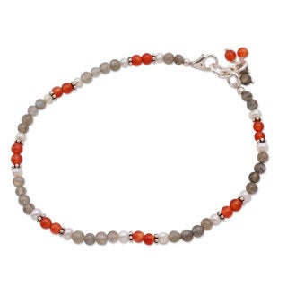 Silver 'Delhi Dusk' Multi-gemstone Pearl Anklet (4 mm) (India)