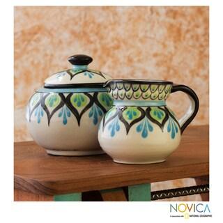 Handcrafted Ceramic 'Owl' Creamer Sugar and Bowl Set (Guatemala)