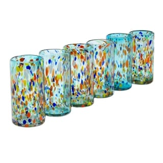 Set of 6 Blown Glass 'Sky Rainbow Raindrops' Tumblers (Mexico)
