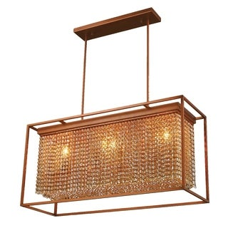 "Modern Industrial 3 Light French Gold Finish and Amber Crystal Rectangle Box Shade Chandelier 36"" L"