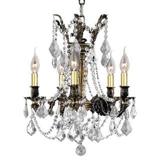 "Italian Elegance Collection 5 Light Antique Bronze Finish Crystal Ornate Chandelier 18"" x 19"""