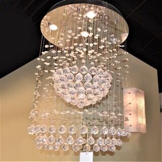 "Modern Contemporary 5 Light Chrome Finish Full Lead Crystal Galaxy Sphere Chandelier 22"" x 30"""