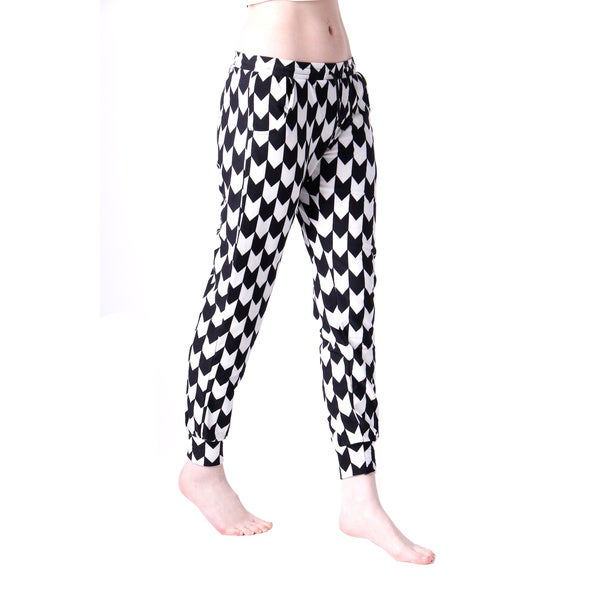 Women's Black/ White Harmony Printed Jogger