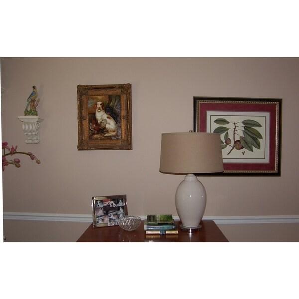 Crown Lighting Fluted Gourd 1-light Ivory Porcelain Table Lamp