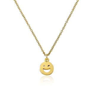 LMTS 14K Gold Coated Winking Smiley Face Pendant Accented with Cubic Zirconia Chain Necklace