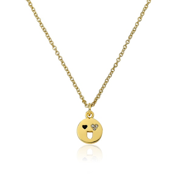 LMTS 14K Gold Coated Smiley Face with Heart Shaped Eyes Pendant Accented with CCubic Zirconia Chain Necklace