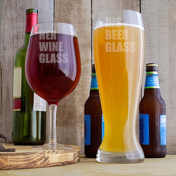 His Beer and Her Wine XL Novelty Glass Set