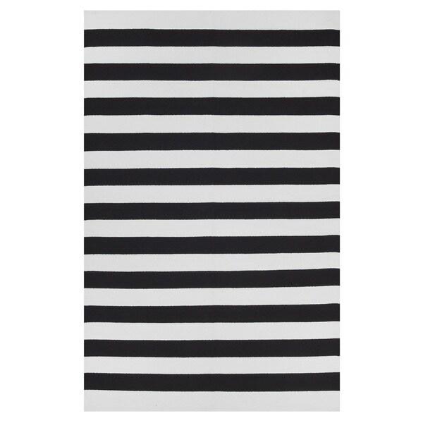 Handmade Nantucket - Black & Bright White (2' x 3') (India) 16312780