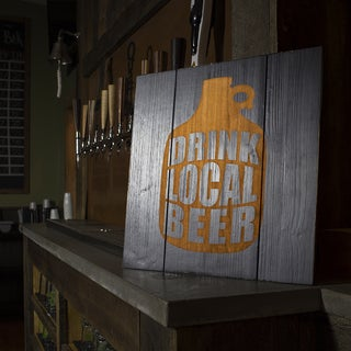 Drink Local Growler Wood Sign