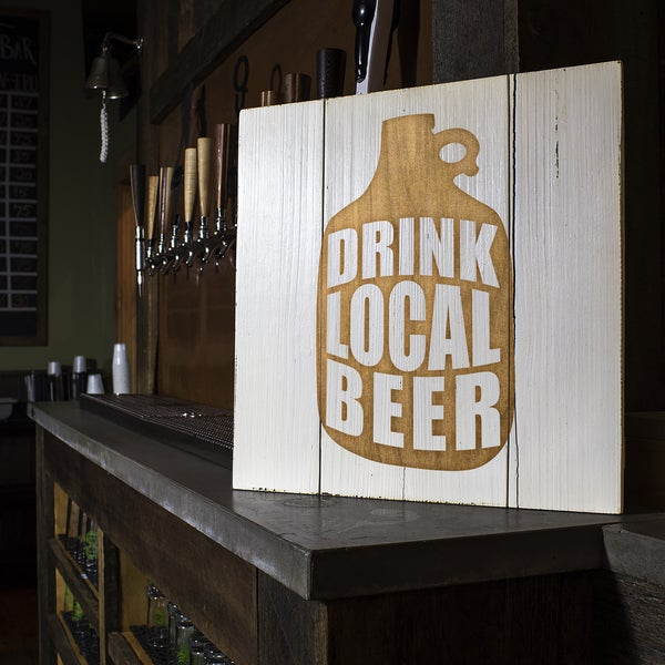 Drink Local White Growler Wood Sign