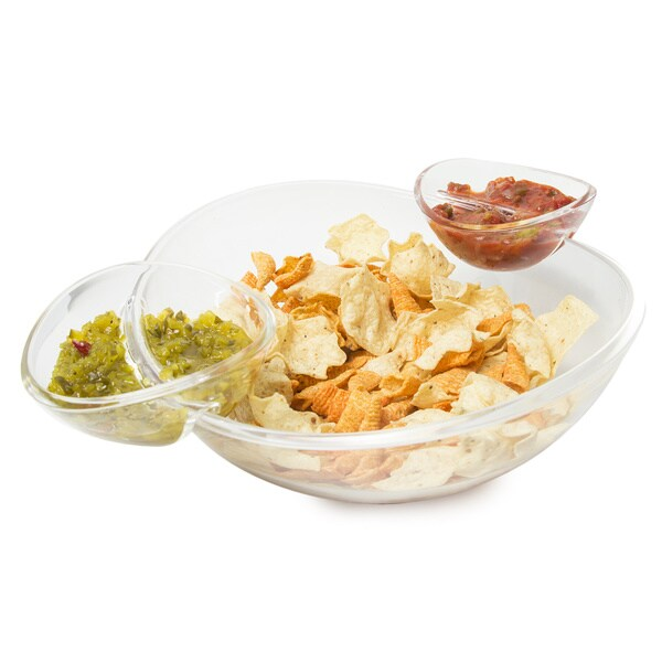 3 PIECE ACRYLIC CHIP AND DIP BOWL