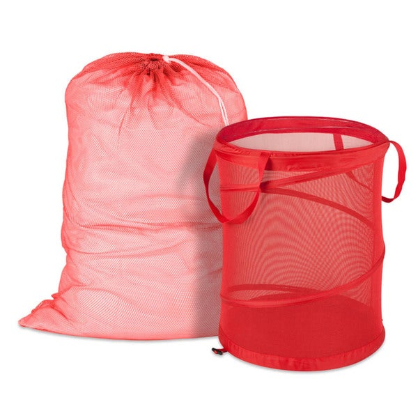 Honey Can Do Red Mesh Laundry Bag and Hamper Kit