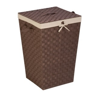 Honey Can Do Java Woven Strap Hamper with Liner and Lid