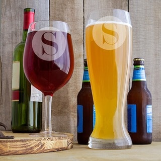 Personalized Novelty Single Initial XL Beer & Wine Glass Set