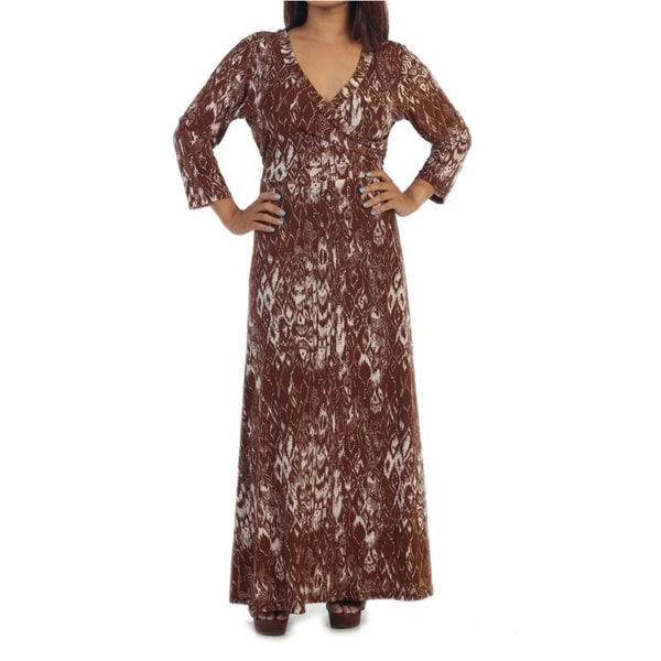 Ella Samani's Plus Size Brown Diamond Maxi