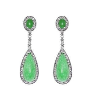 Simulated Jade Dangle Clip-on Earrings