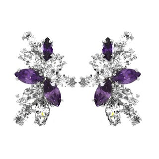 Lavender and Clear CZ Clip-on Earrings