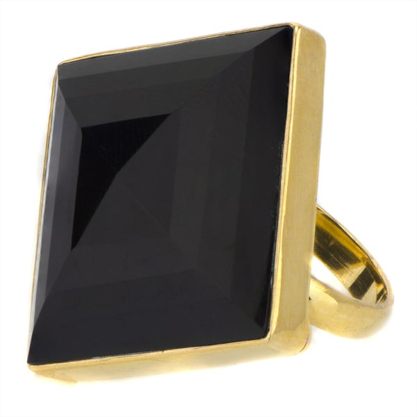 Brass Base Jumbo Square Stone Cocktail Ring