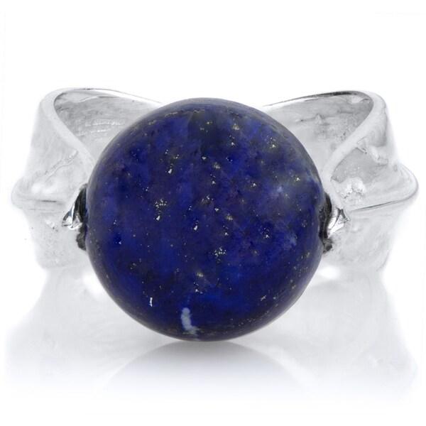 Brass Base Blue Stone Leaf Ring