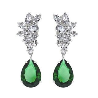 Green CZ Pear Cut Dangle Clip On Earrings