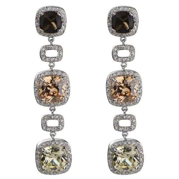 Tri Color Cushion Cut Drop Earrings