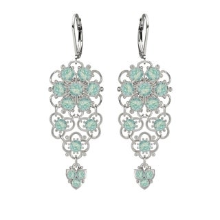 Lucia Costin .925 Silver Mint Blue Crystal Earrings