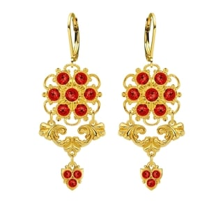 Lucia Costin Red Silver Crystal Earrings