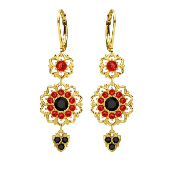 Lucia Costin .925 Silver Black Red Crystal Flower Earrings