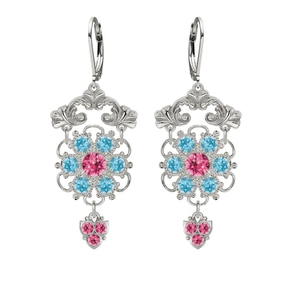 Lucia Costin Silver Pink Light Blue Crystal Earrings 16313887