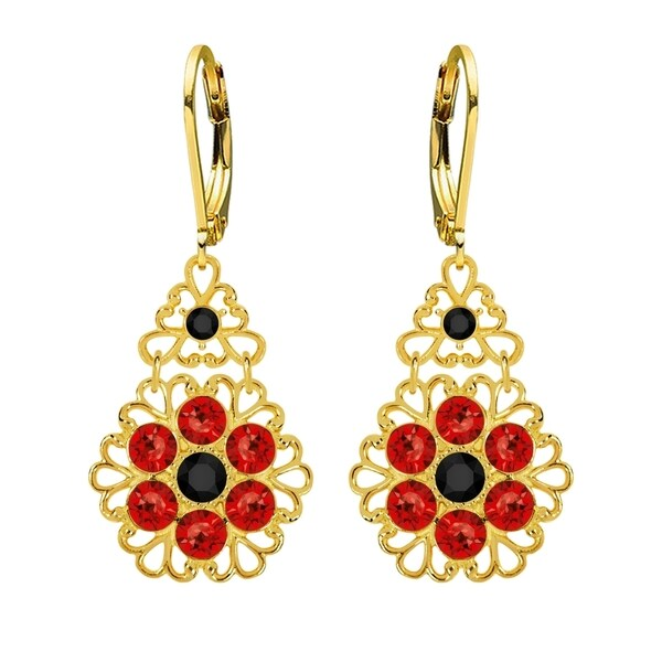 Lucia Costin .925 Black Silver Red Crystal Flower Earrings