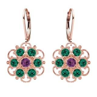Lucia Costin Silver Green Violet Crystal Earrings