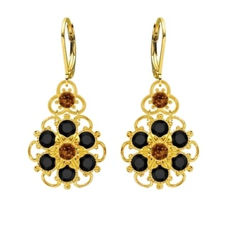 Lucia Costin Silver Brown Black Crystal Earrings