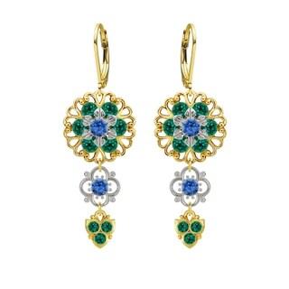 Lucia Costin Silver Green Blue Crystal Dangle Earrings