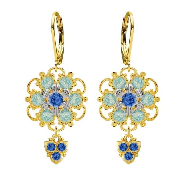 Lucia Costin Sterling Silver Blue Mint Blue Crystal Earrings 16313902