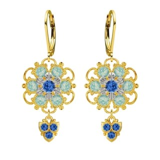 Lucia Costin Sterling Silver Blue Mint Blue Crystal Earrings