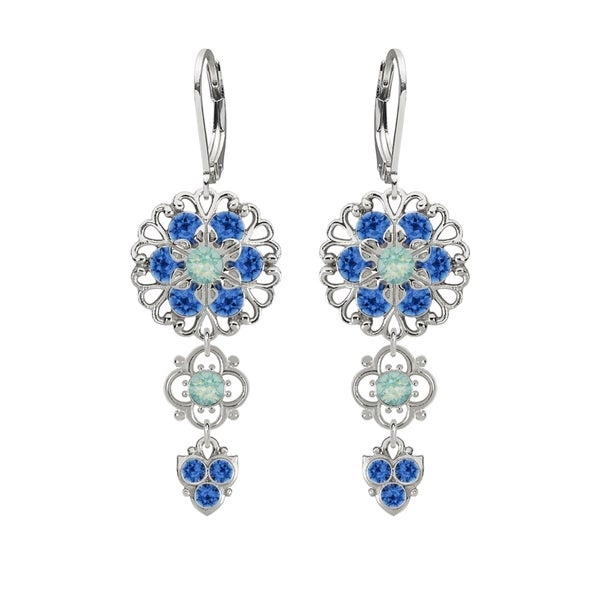 Lucia Costin .925 Silver Blue Mint Blue Crystal Earrings 16313906