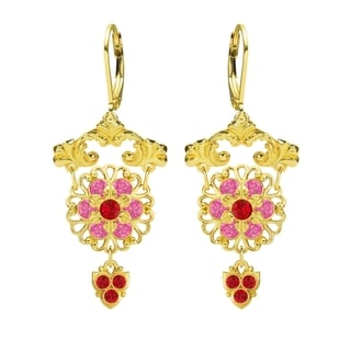 Lucia Costin Sterling Silver Red Pink Crystal Earrings