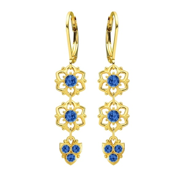 Lucia Costin Silver Blue Crystal Earrings 16313927