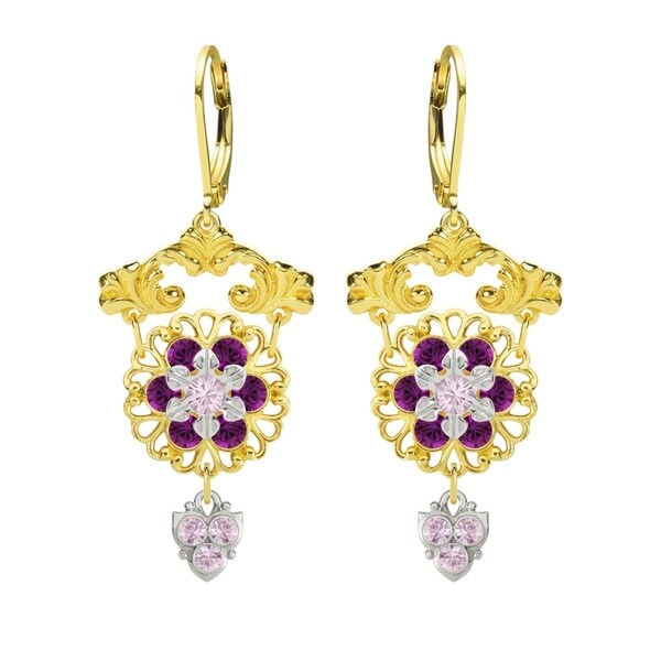 Lucia Costin Silver Lilac Violet Crystal Earrings
