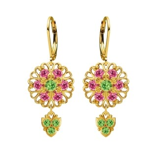 Lucia Costin Sterling Silver Pink Light Green Crystal Earrings