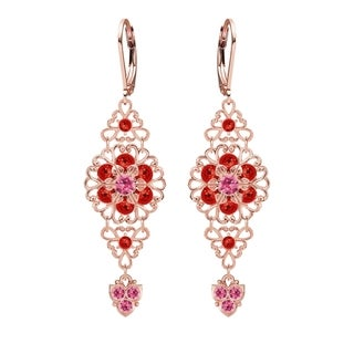 Lucia Costin Silver Pink Red Crystal Earrings