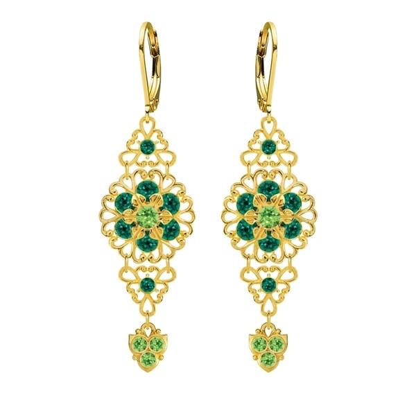 Lucia Costin Silver Light Green Dark Green Crystal Earrings