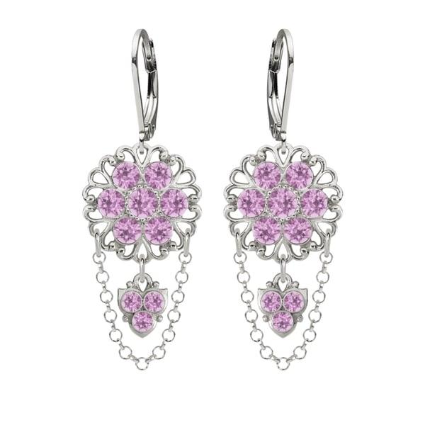 Lucia Costin Silver Light Purple Crystal Earrings