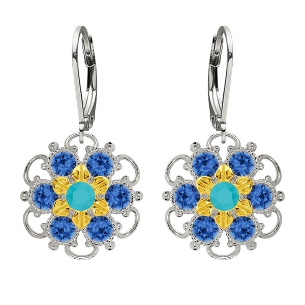 Lucia Costin Silver Blue Turquoise Crystal Earrings 16313938