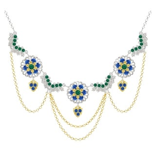 Lucia Costin Silver Green Blue Crystal Necklace